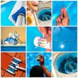 Mantenimiento del collage de una piscina privada fotografía de archivo