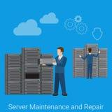 Mantenimiento del servidor y vector plano del estilo de la reparación libre illustration