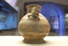 Manteno civilization clay, pre-hispanic ecuadorian people. Caceres, Spain - March 28th, 2019: Manteno civilization clay, pre-hispanic ecuadorian people stock image