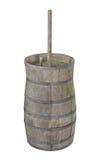Mantequera de madera vieja aislada Imagen de archivo libre de regalías