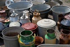 Mantequeras del mercado de pulgas Imagenes de archivo