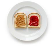 Mantequilla de cacahuete y emparedado de la jalea fotografía de archivo