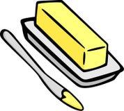 Mantequilla en plato y cuchillo de extensión Imagen de archivo