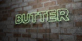 MANTEQUILLA - Señal de neón que brilla intensamente en la pared de la cantería - 3D rindió el ejemplo común libre de los derechos Imagenes de archivo