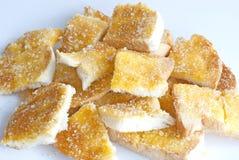 Mantequilla y azúcar de la tostada Imágenes de archivo libres de regalías