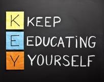 Manter-educar-você mesmo-acrônimo Foto de Stock Royalty Free