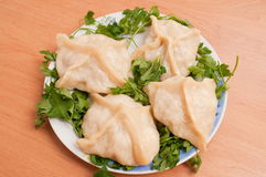 Manti the Asian dish. Are steamed. stock photography