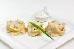 Manti delizioso dell'Uzbeco con il souce della panna acida e della cipolla verde su un piatto bianco Immagine Stock Libera da Diritti
