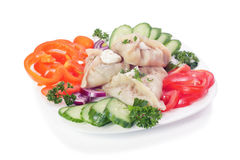Manti (dumpling). With vegetable. Isolated Stock Image