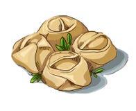 Manti dumpling hand-drawn illustration Stock Images