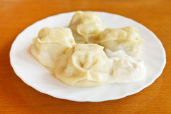 Manti dumpling on white plate Stock Photography