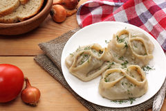 Manti dumpling on white plate. Royalty Free Stock Photos