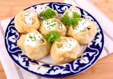 Manti, dumplings with minced meat and cream Stock Image