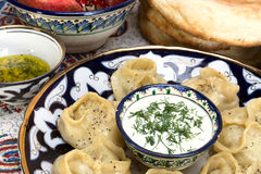 Manti or Mantu are dumplings popular in most Asia cuisines Stock Photography