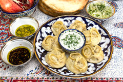 Manti or Mantu are dumplings popular in most Asia cuisines Stock Photos