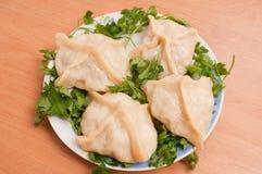 Manti o prato asiático. São cozinhados. fotografia de stock