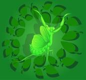 Mantide, personaggio dei cartoni animati dipinto, illustrazione di vettore Insetto sui precedenti di fogliame verde Immagini Stock