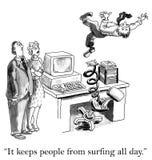 Mantiene la gente dal praticare il surfing tutto il giorno Immagini Stock