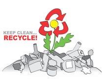 Mantiene limpio - recicle. La alegoría con la flor, basura y recicla la muestra Fotos de archivo
