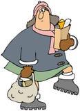 Mantimentos levando da mulher ilustração royalty free