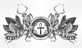 Mantis beetle with Ankh. Royalty Free Stock Photo