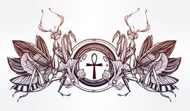 Mantis beetle with Ankh. Royalty Free Stock Images