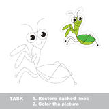 Mantis to be traced. Vector trace game. Royalty Free Stock Photography