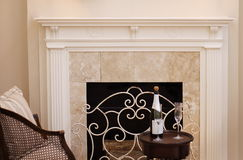 Mantle. White fireplace mantle Stock Photo