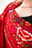 Manton shawl used in flamenco dance. A woman wearing a red manton shawl used in Spanish flamenco dance Royalty Free Stock Images