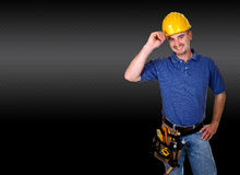 Mantool background. Isolated standing young worker with space for text Royalty Free Stock Photography