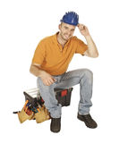Mantool sit on toolbox Royalty Free Stock Photo