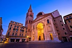 Mantova city Piazza Andrea Mantegna evening view. European capital of culture and UNESCO world heritage site, Lombardy region of Italy Royalty Free Stock Photo