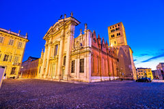 Mantova city Piazza Sordello and cathedral evening view Royalty Free Stock Photography