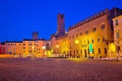 Mantova city Piazza Sordello evening view. European capital of culture and UNESCO world heritage site, Lombardy region of Italy Stock Images