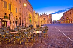 Mantova city Piazza Sordello evening view. European capital of culture and UNESCO world heritage site, Lombardy region of Italy Royalty Free Stock Image
