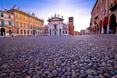 Mantova city Piazza Sordello morning view. European capital of culture and UNESCO world heritage site, Lombardy region of Italy Royalty Free Stock Photo