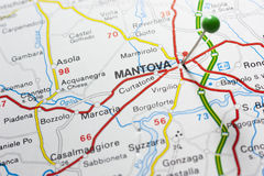 Mantova Itália em um mapa Fotos de Stock