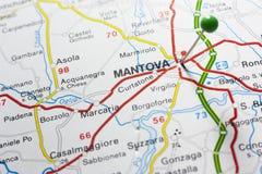 Mantova Italia en un mapa Fotos de archivo libres de regalías