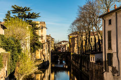 Mantova and its canal. Evening in the city of Mantova Stock Photos