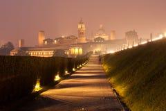 Mantova (Mantua). Nighttime panorama of historical Mantova, Nothern Italy Stock Photography