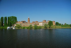 Mantova lake shore (Mantua), Italy. Mantova skyline seen from lago inferiore. Lombardy, Italy royalty free stock images