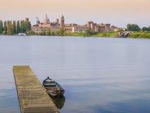 Mantova skyline, Italy. Mantova skyline from the lake, Italy Royalty Free Stock Image