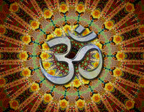 Mantra om in center of meditation mandala Stock Image