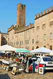 Mantua flea market in Piazza Sordello Stock Images