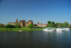Mantua (Mantova) lakefront, Italy. Mantua (Mantova) old town and castle, seen from the city lake stock images