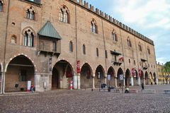 View of Palazzo Ducale, Mantua, Northern Italy. Mantua, Italy - April 10, 2018: The famous Renaissance square Piazza Sordello. View of Palazzo Ducale. Northern Royalty Free Stock Photo