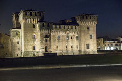 Mantua, Italy, Sordello Square. Mantua, castle of Gonzaga by night Stock Images