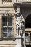 Mantua, Italy, Sordello Square. Historical building with a statue at the entrance Stock Images