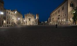 Mantua Lombardia Italia Europa di notte del quadrato di Sordello Fotografia Stock Libera da Diritti