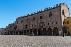 Mantua -Lombardy, Italy - Amazing Ducal Palace Facade in the Main Square of the city, Piazza Sordello.  Stock Image